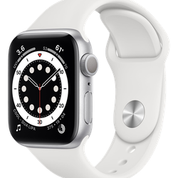 Apple Watch Series 6 (GPS) - 40 mm - silveraluminium - smart klocka med sportband - fluoroelastomer - vit - band size: S/M/L - 32 GB - Wi-Fi, Bluetooth - 30.5 g