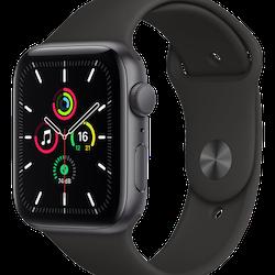 Apple Watch SE (GPS) - 44 mm - rymdgrå aluminium - smart klocka med sportband - fluoroelastomer - svart - band size: S/M/L - 32 GB - Wi-Fi, Bluetooth - 36.2 g
