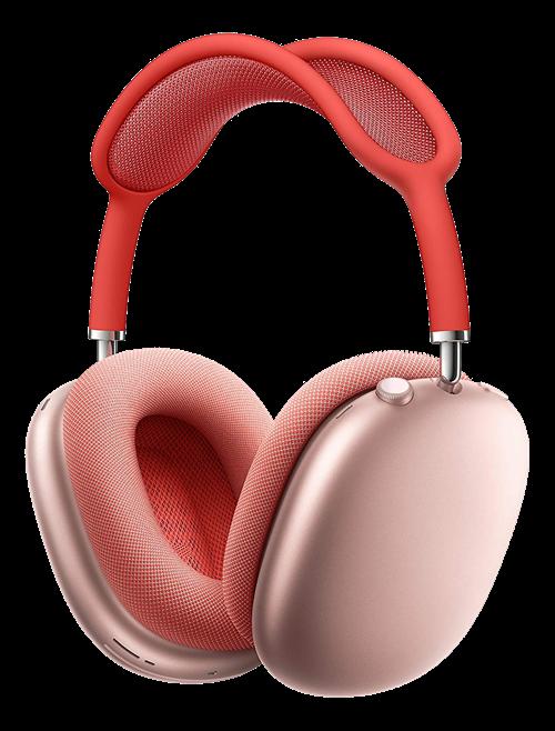 Apple AirPods Max, rosa  Ett annorlunda arrangemang. AirPod Max är en helt ny typ av over-ear-hörlurar. Hela vägen från öronkuddarna till textilnätet är de utformade med en kompromisslös passform som