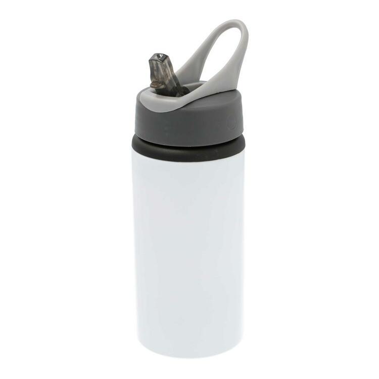 Vattenflaska med sugrör • Blomram & Valfritt Namn