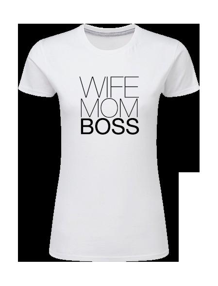 Dam T-shirt • Wife Mom Boss STORT TRYCK