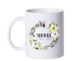 Mugg • Blomkrans, Mamma sedan..