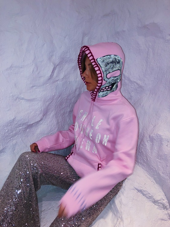 Smile You're On Camera Hoodie Pink