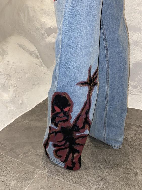 "Girl with skeletons in her closet, straight leg jeans light blue"""