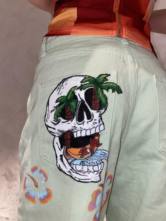 Tropic Like It's Hot Jeans, Mint Green
