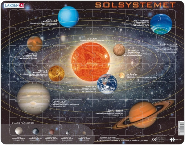 Pussel: planeter i solsystemet 70 bitar (Larsen)