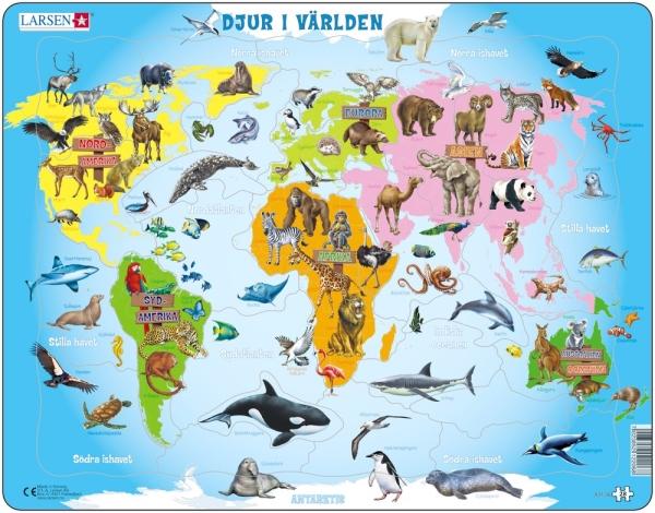 Djur på världskarta (Larsen)