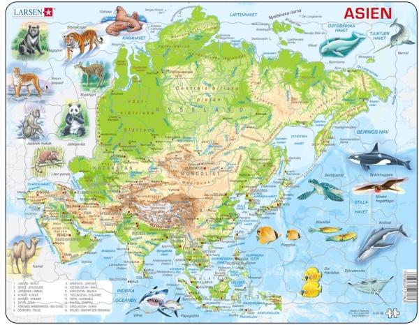 Asienkarta med djur pussel (Larsen)