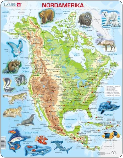 Djur i Nordamerika pussel (Larsen)
