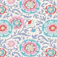 Birdpond- hvit med rød og blå blomster