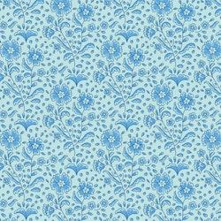 Birdpond- blå med mørkere blå blomster