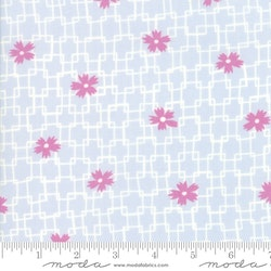 Fine and Sunny- blå med rosa blomster