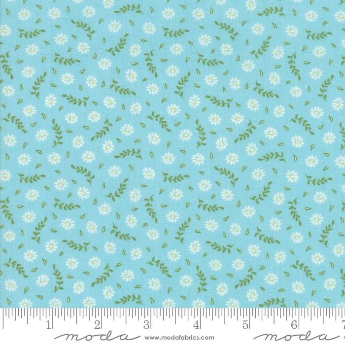 Harpers Garden- turkis med krem blomster