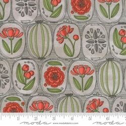 Blushing Peonies- grå/rød blomstret