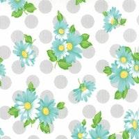 Sew & Sew-hvit med turkis blomster