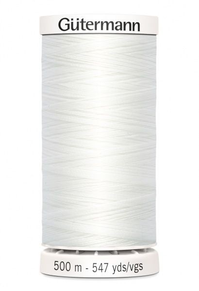 Gutermann col. 800 hvit-500m