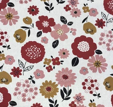 Lin/bomull natur med røde/rosa blomster