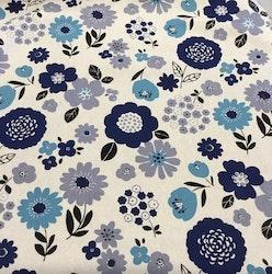 Lin/bomull natur med blå/turkis blomster