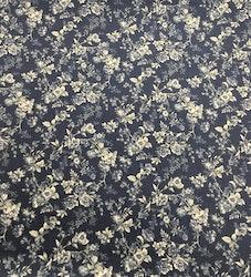 Lin/bomull blå med kremfargede blomster