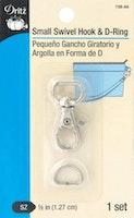 Dritz  liten karabinkrok + D ring str. 1,27 cm sølvfarge
