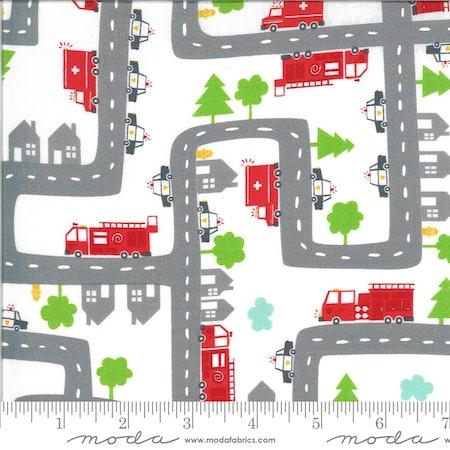 On the go -med røde brannbiler