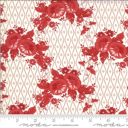 Roselyn Morning Glory Ivory Red