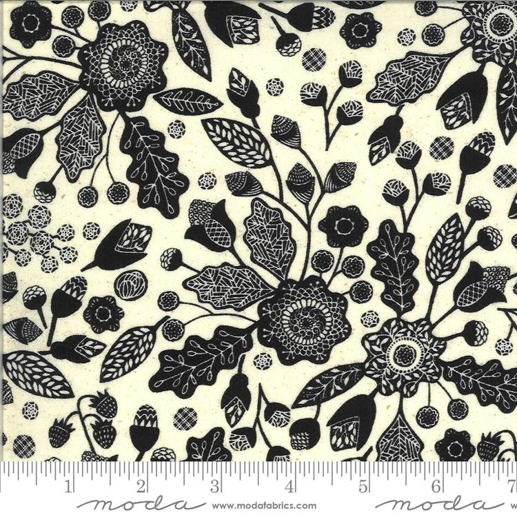 Maryland Linen-svarte blomster