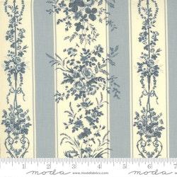 Jardin De Fleurs Ciel Blue- blå hvit striper med blomster