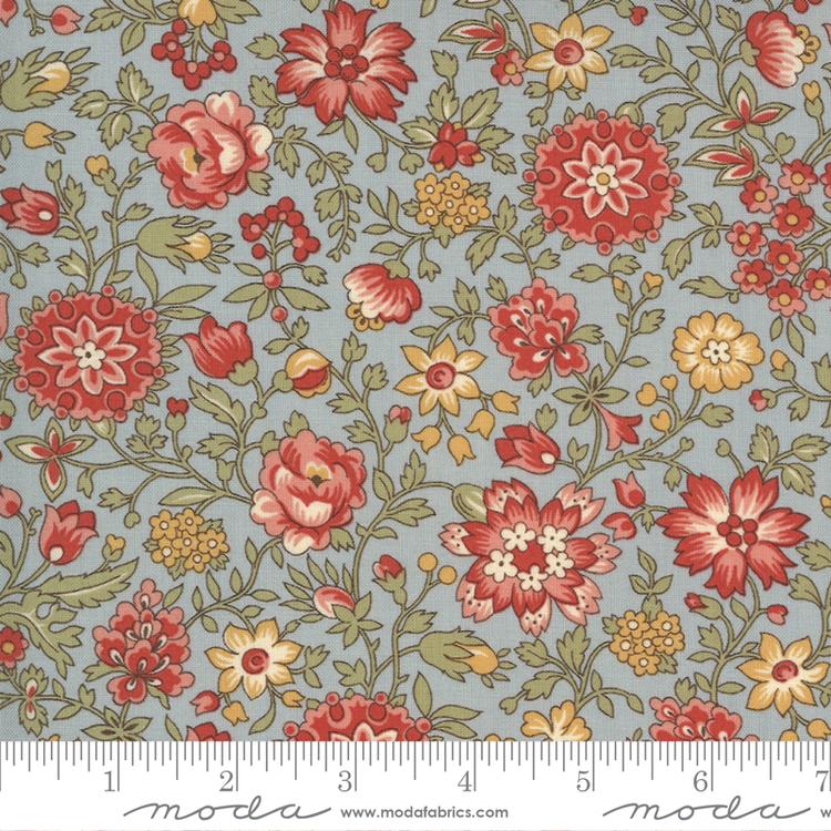 Jardin De Fleurs Ciel Blue-blå med røde/gule blomster