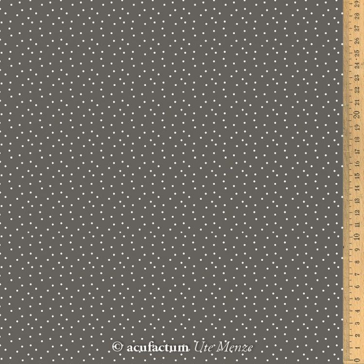 Bomullsstoff prikker gråbrun-hvit