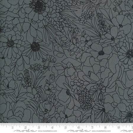 Illustrations Graphite- svart med blomster