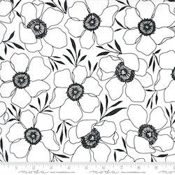Illustrations Paper- hvit med svarte blomster