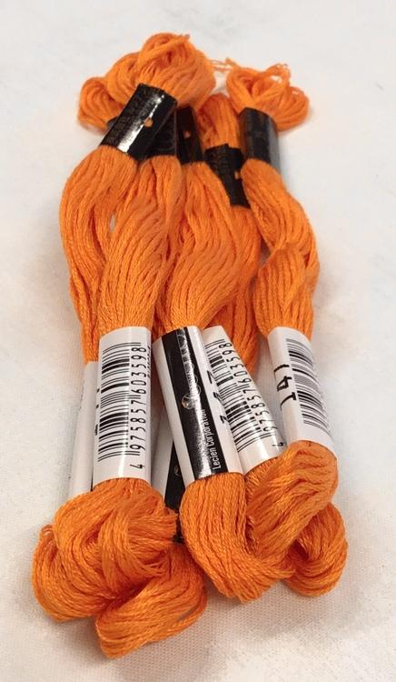 farge 147-Cosmo Cotton Embroidery Floss 8m Skein Vivid Orange Ocher