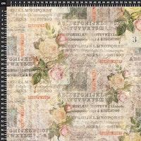 Tim Holtz - Foundations-brun/beige med roser og skrift