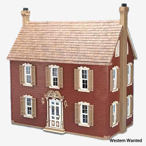18th-century Dollhouse kit Big skala 1:12. Dockskåpet har sex rymliga rum på tre våningar.