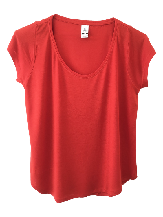 Loose fit scoop neck T-shirt