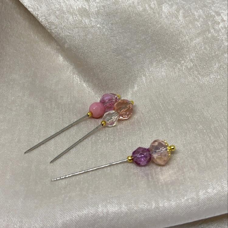 Lux handgjord Hijab nål -  Rosa 3st