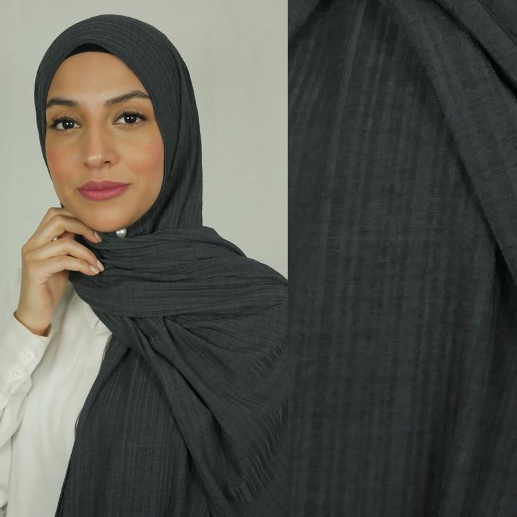 Jersey hijab med en snygg ribbad struktur. Jersey hijab i färgen militär grå