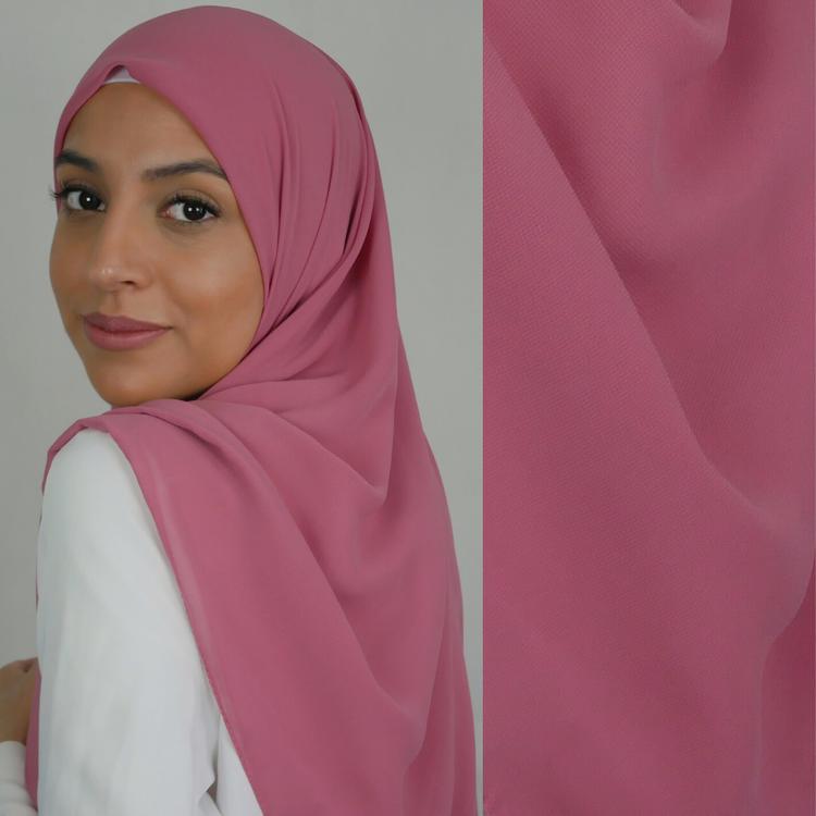 Chiffong hijab i fyrkantig modell i färgen pink/rosa