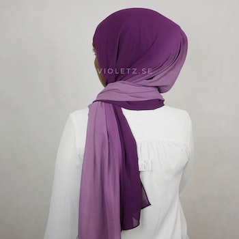 Instant Chiffong hijab med undersjal - ombré lila