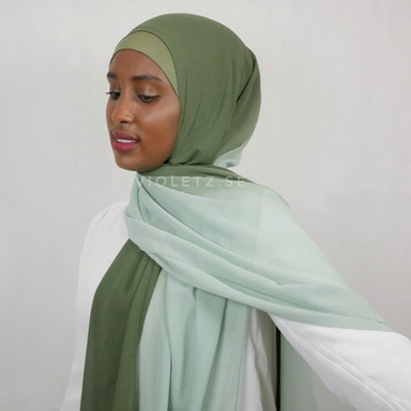 Instant Chiffong hijab med undersjal - ombré oliv