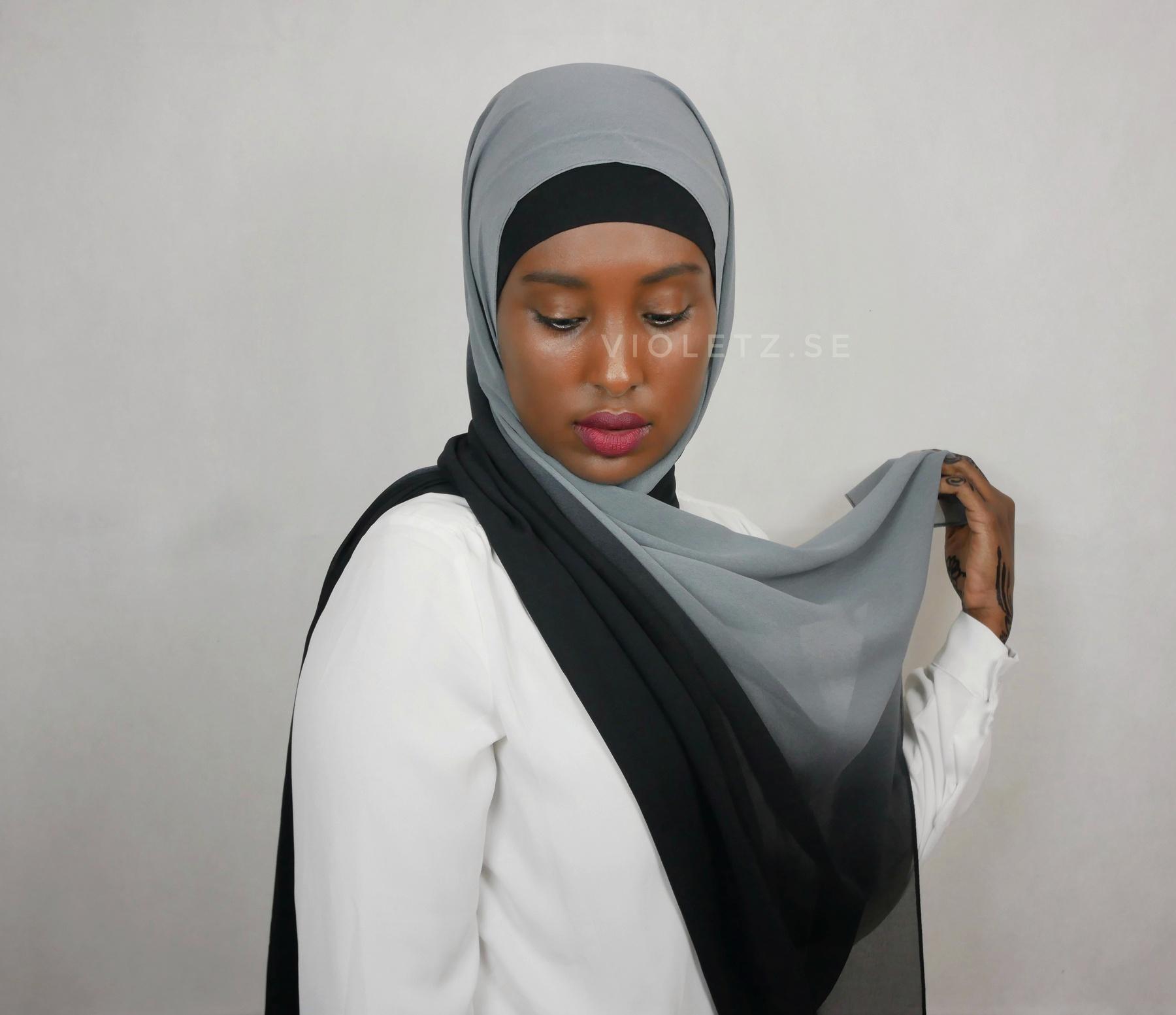 Instant Chiffong hijab med undersjal - ombré natt