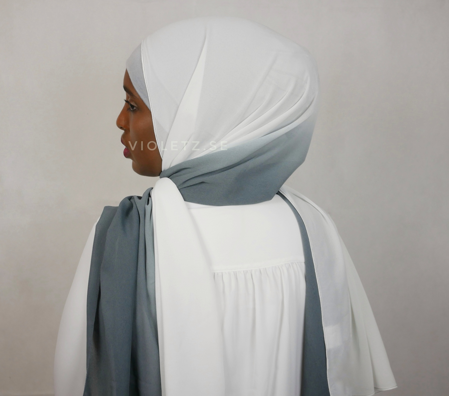 Instant Chiffong hijab med undersjal - ombré light