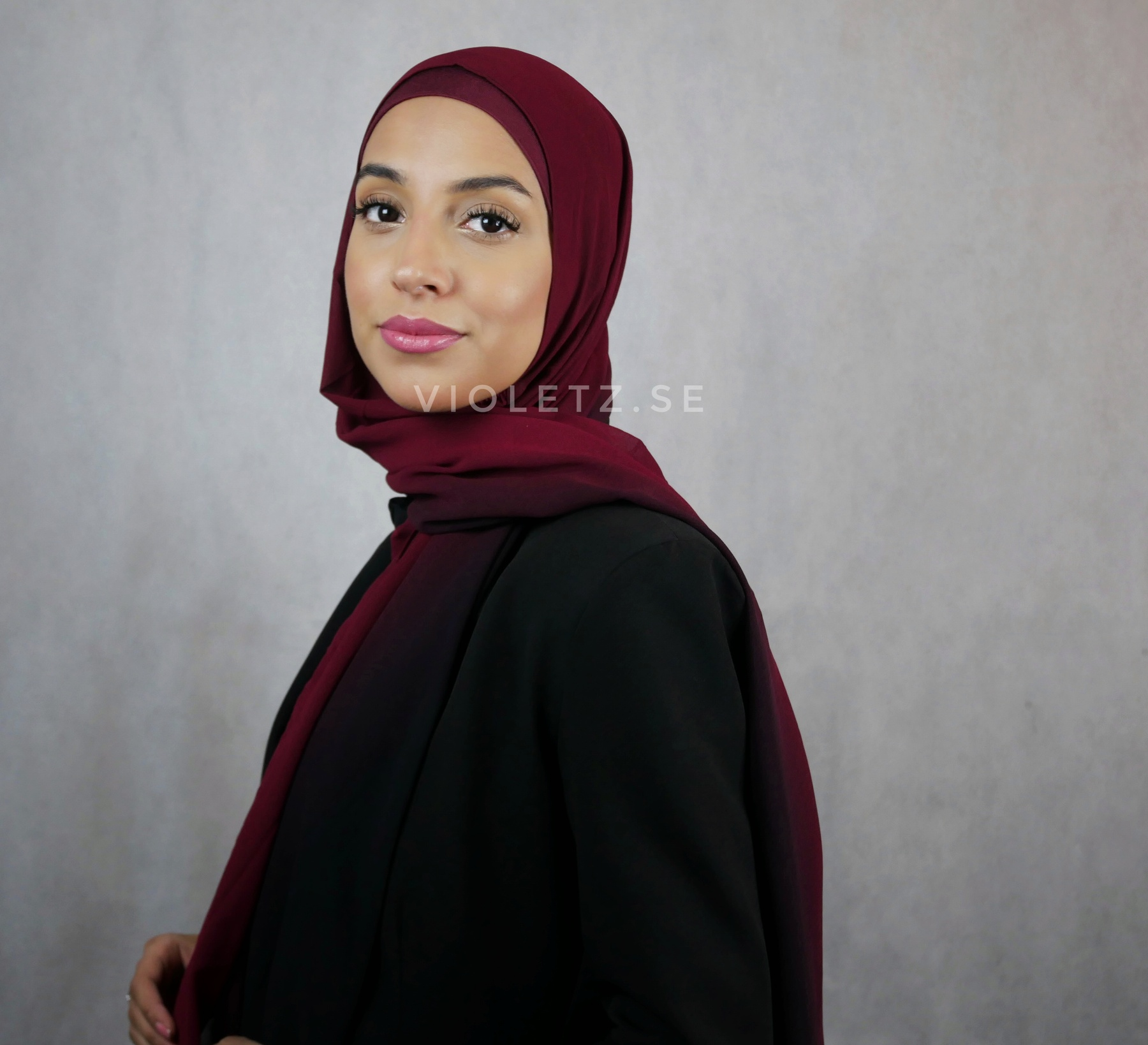 Instant Chiffong hijab med undersjal - cherry