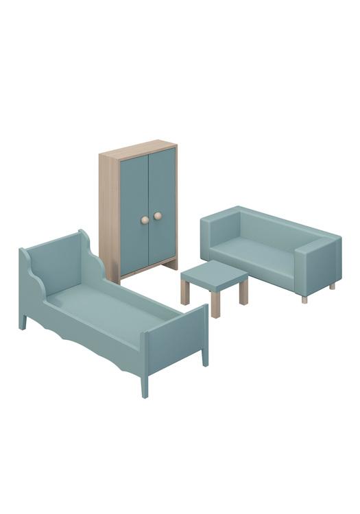 Möbelset Vardags- och sovrum