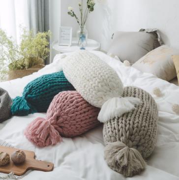 Chunky knit avlång kudde