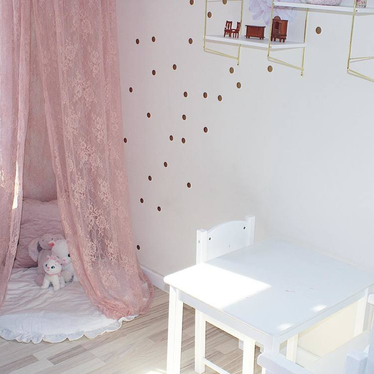Sänghimmel i spets - Blush