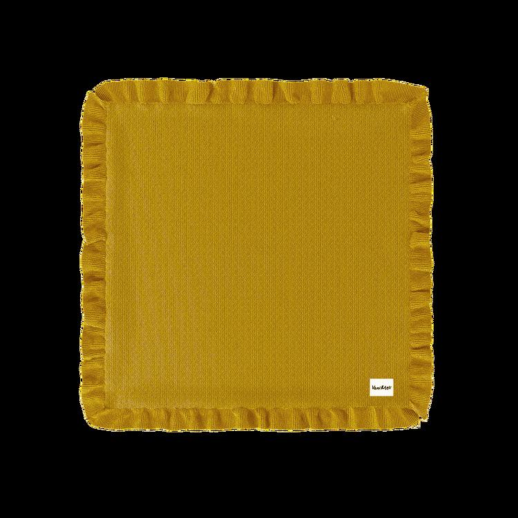 Filt i Eko-bomull med Volang - Mustard