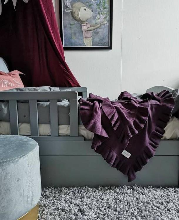 Flounce Blanket in Ecological cotton - Plum