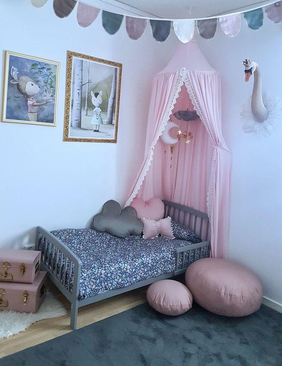 Sänghimmel - Spets detaljer - Rosa